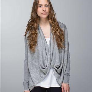 Lululemon Grey Striped Iconic Wrap Sweater Size 4